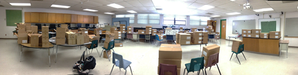 Panoramic view of 125 boxes donated to the school